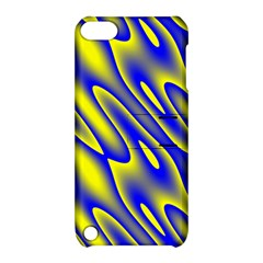 Blue Yellow Wave Abstract Background Apple Ipod Touch 5 Hardshell Case With Stand