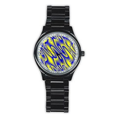 Blue Yellow Wave Abstract Background Stainless Steel Round Watch