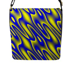 Blue Yellow Wave Abstract Background Flap Messenger Bag (l)
