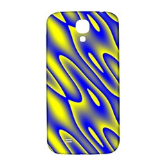 Blue Yellow Wave Abstract Background Samsung Galaxy S4 I9500/i9505  Hardshell Back Case