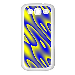 Blue Yellow Wave Abstract Background Samsung Galaxy S3 Back Case (white)