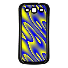 Blue Yellow Wave Abstract Background Samsung Galaxy S3 Back Case (black)