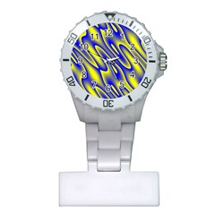 Blue Yellow Wave Abstract Background Plastic Nurses Watch