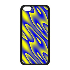 Blue Yellow Wave Abstract Background Apple iPhone 5C Seamless Case (Black)