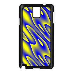 Blue Yellow Wave Abstract Background Samsung Galaxy Note 3 N9005 Case (black)