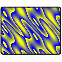 Blue Yellow Wave Abstract Background Double Sided Fleece Blanket (medium)