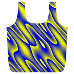 Blue Yellow Wave Abstract Background Full Print Recycle Bags (L)