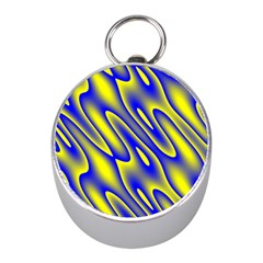 Blue Yellow Wave Abstract Background Mini Silver Compasses