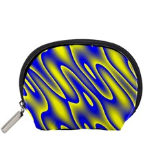 Blue Yellow Wave Abstract Background Accessory Pouches (Small)