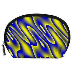 Blue Yellow Wave Abstract Background Accessory Pouches (Large)