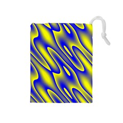Blue Yellow Wave Abstract Background Drawstring Pouches (Medium)