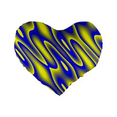 Blue Yellow Wave Abstract Background Standard 16  Premium Flano Heart Shape Cushions