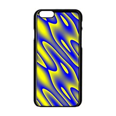 Blue Yellow Wave Abstract Background Apple iPhone 6/6S Black Enamel Case