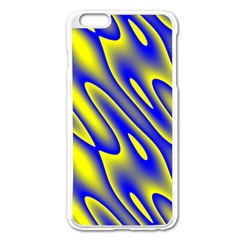 Blue Yellow Wave Abstract Background Apple iPhone 6 Plus/6S Plus Enamel White Case