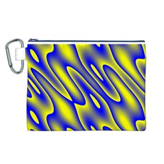Blue Yellow Wave Abstract Background Canvas Cosmetic Bag (L)
