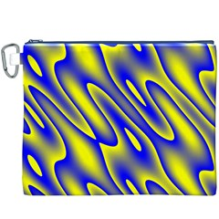 Blue Yellow Wave Abstract Background Canvas Cosmetic Bag (XXXL)