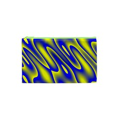 Blue Yellow Wave Abstract Background Cosmetic Bag (xs)
