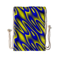 Blue Yellow Wave Abstract Background Drawstring Bag (Small)