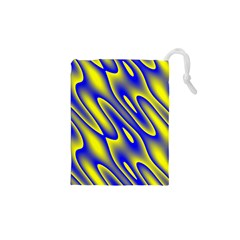 Blue Yellow Wave Abstract Background Drawstring Pouches (XS)