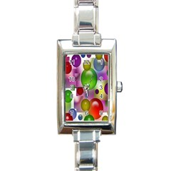 Colored Bubbles Squares Background Rectangle Italian Charm Watch