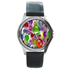 Colored Bubbles Squares Background Round Metal Watch