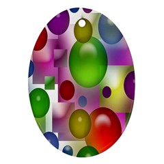Colored Bubbles Squares Background Ornament (oval)
