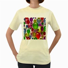 Colored Bubbles Squares Background Women s Yellow T-Shirt