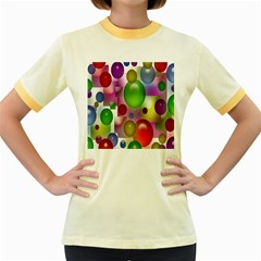 Colored Bubbles Squares Background Women s Fitted Ringer T Shirts