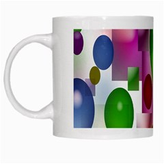 Colored Bubbles Squares Background White Mugs