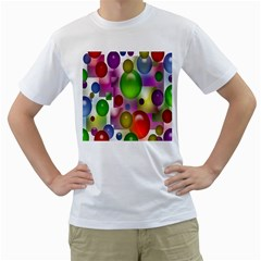 Colored Bubbles Squares Background Men s T Shirt (white) (two Sided)