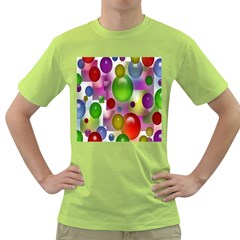 Colored Bubbles Squares Background Green T Shirt