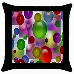 Colored Bubbles Squares Background Throw Pillow Case (black)
