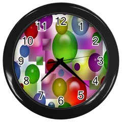 Colored Bubbles Squares Background Wall Clocks (Black)