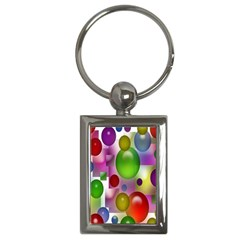 Colored Bubbles Squares Background Key Chains (Rectangle)