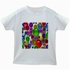 Colored Bubbles Squares Background Kids White T-Shirts