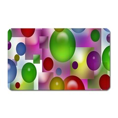 Colored Bubbles Squares Background Magnet (Rectangular)