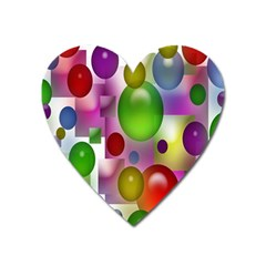 Colored Bubbles Squares Background Heart Magnet
