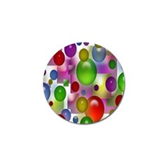 Colored Bubbles Squares Background Golf Ball Marker
