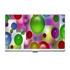 Colored Bubbles Squares Background Business Card Holders