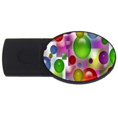 Colored Bubbles Squares Background USB Flash Drive Oval (1 GB)