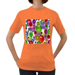 Colored Bubbles Squares Background Women s Dark T Shirt