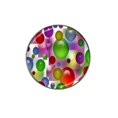 Colored Bubbles Squares Background Hat Clip Ball Marker