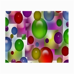 Colored Bubbles Squares Background Small Glasses Cloth