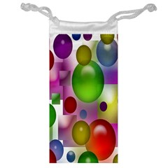 Colored Bubbles Squares Background Jewelry Bag