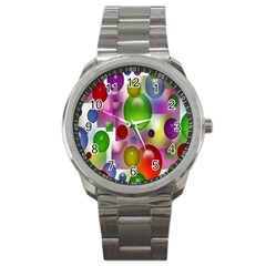 Colored Bubbles Squares Background Sport Metal Watch
