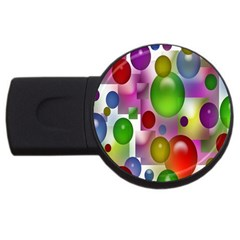Colored Bubbles Squares Background USB Flash Drive Round (4 GB)
