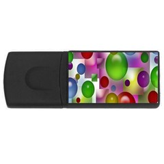 Colored Bubbles Squares Background USB Flash Drive Rectangular (4 GB)