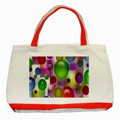 Colored Bubbles Squares Background Classic Tote Bag (Red)