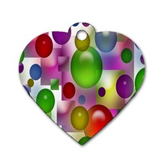 Colored Bubbles Squares Background Dog Tag Heart (Two Sides)