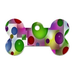 Colored Bubbles Squares Background Dog Tag Bone (two Sides)